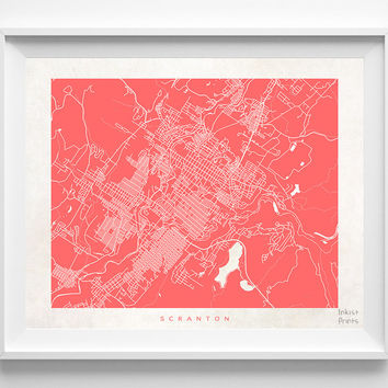 Pennsylvania, Scranton, Print, Map, PA, Poster, State, City, Street Map, Art, Decor, Town, Illustration, Room, Wall Art, Customize