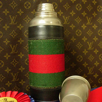 Handsome Rare Vintage GUCCI Thermos w/Navy Red Webbing Barware Libarary Sports Accessory