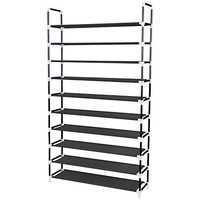 Songmics 10 Tiers Shoe Rack 50 Pairs Non-woven Fabric Shoe Tower Storage Organizer Cabinet Balck ULSH11H