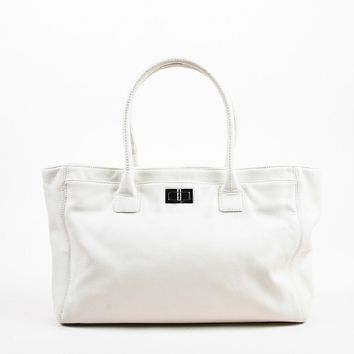 "Chanel Cream Leather Mademoiselle Turnlock ""Reissue Cerf"" Shoulder Tote Bag"