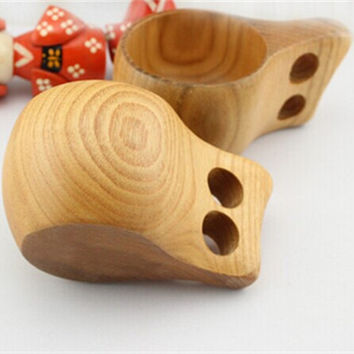 Tourism Carrying Ancient Creative Wooden Oak  Double Holes Wooden Cup