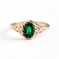 Simulated Emerald Ring - 10k Rosy Yellow Gold Green Glass Stone Flower Ring - Art Deco 1930s Size 3 1/2 Oval Cut May Birthstone 30s Jewelry