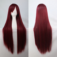 Womens/Ladies 80cm Purple Red Color Long STRAIGHT Cosplay/Costume/Anime/Party/Bangs Full Sexy Wig (80cm,Straight,Purple Red)
