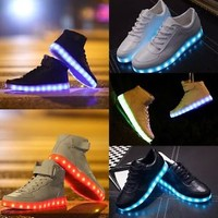 2015 Unisex LED Light Lace Up High Luminous Shoes Sportswear Sneaker Luminous