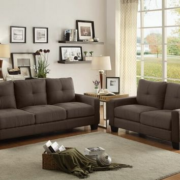 2 pc Ramsey collection grey fabric upholstered sofa and love seat set with square arms