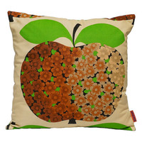 70s Deco Throw Pillow - retro cushion cover made from vintage fabrics by EllaOsix - 40x40 / 16x16 with apple decor