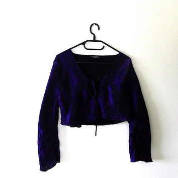 Sapphire blue silky shrug top / purple / metallic / vintage / cropped jacked / cropped cardigan / flared sleeve / tie / bolero cropped top