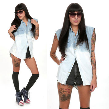 90's Bleached Denim Chambray Cutoff Ombre Button Down Shirt S/M DIp Dyed Cutoff Muscle Tank