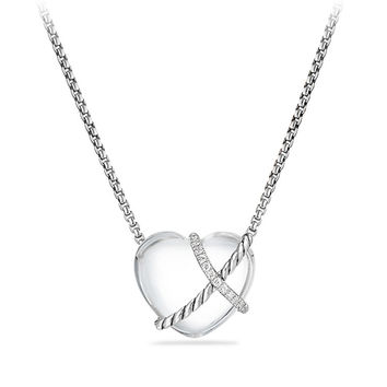 Le Petit Coeur Sculpted Heart Chain Necklace with Diamonds