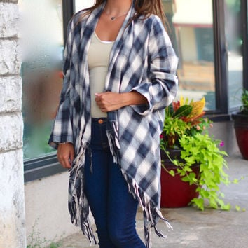 Tassel My Plaid Cardigan {Black}