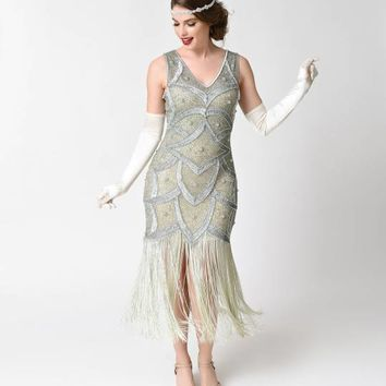 Unique Vintage Silver & Seafoam Beaded Mesh Isadora Fringe Flapper Dress