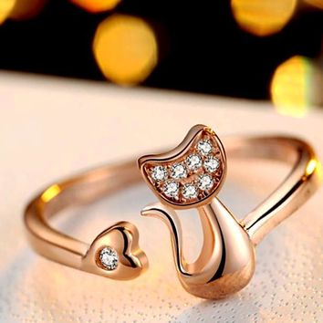 Kitty Katz CZ Crystals Adjustable Ring Steel/Rose Gold Color