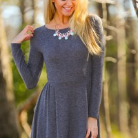 Dancing Around The Subject Sweater Dress-Charcoal