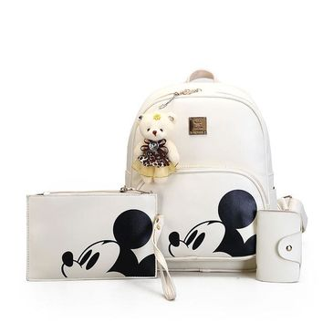 School Backpack trendy Kisstyle Women Composite Backpacks High Quality Pu Leather Fashion Mickey Backpack 3pcs/set Girls School Bag Mochila Feminina AT_54_4