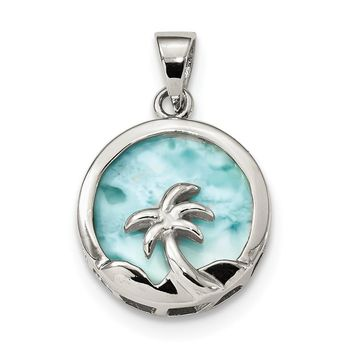 Sterling Silver Circle Larimar With Palm Tree Pendant