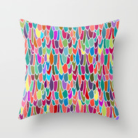 feather grid Throw Pillow by Sharon Turner
