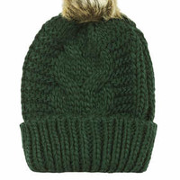 Cable Faux Fur Pom Beanie - Green
