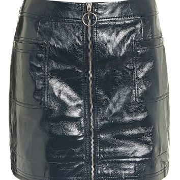 Cracked Vinyl Zip Mini Skirt | Topshop