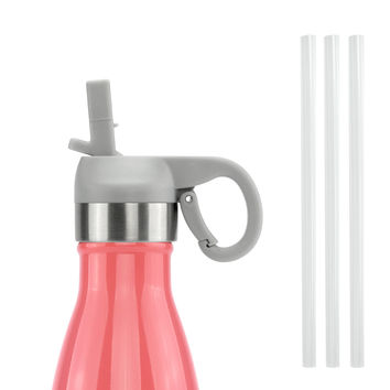 ICONIQ Gray Pop Up Straw Cap for 17 Ounce Insulated Water Bottles