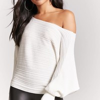 Ribbed Knit Batwing Sweater