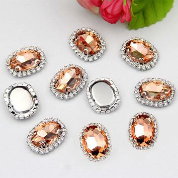 10x14mm 20pcs/pack Oval shape crystal glass sew on rhinestones with claw, High quality crystal buckle