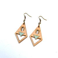 Lasercut Hand Painted Wooden Geometric Earrings: Mint, Peach, Turquoise, Tan
