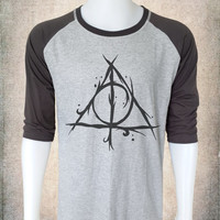 Harry Potter Shirt Deathly Hallows Long Sleeve Baseball Shirt Vintage Deathly Hallows Cool Birthday Gift Ideas Hipster Clothing