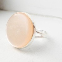 Peach Moon Adjustable Ring in Silver One of a kind by itsastitch