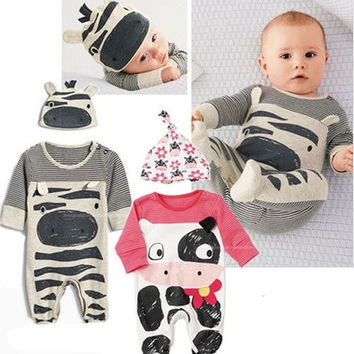Newborn Baby Boy Girl Stripes Sleepwear Pajama Babygrows Baby Rompers Playsuits [8833428044]