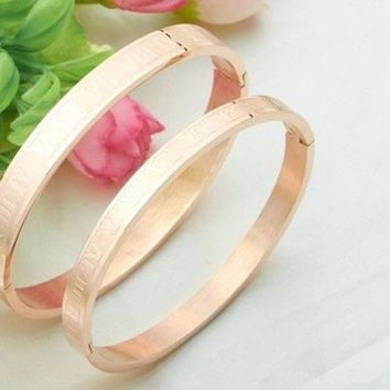 DCCKJN6 (1 Pair) Rose Gold Plated Stainless Steel Couples/Womens/Mens Cuff Bracelets Bangles Wristband Best Gift for Lover!