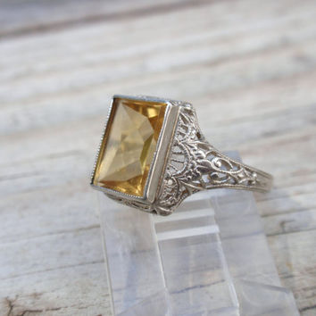Art Deco Citrine Filigree Ostby Barton 10k Antique Ladies Ring gold November yellow Maltese cross FREE US Shipping until Mother's Day!