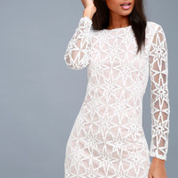 Dawning Twilight White Long Sleeve Lace Dress