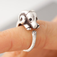 Adjustable Goat ring, sheep ring, ram ring, Womens Girls Retro Burnished Animal Ring Jewelry Adjustable Free Size Wrap Ring