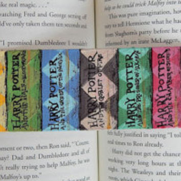 Harry Potter Books Hand-Painted Bookmark // A Bookshelf With Books // Read A Book Bookmark