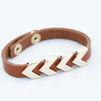 Brown Leather Strap Arrowhead Bracelet