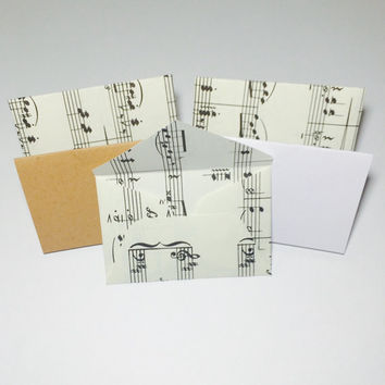 Little music sheet envelopes with cards 2x3""