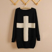 Black Cross Long Sleeve Sweater
