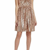 Women's Rose Gold Sweetheart Strapless Fit and Flare Bow Party Sequin Dress