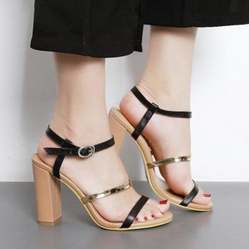 Simple Style Ankle Wrap Open Toe Chunky High Heels Sandals