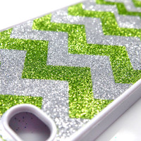Chevron unique iphone 5 4s case iphone 4 case iphone 4s case iphone 5 case Green Silver stripe Glitter Glittery Sparkly Sparkle Bling Silver