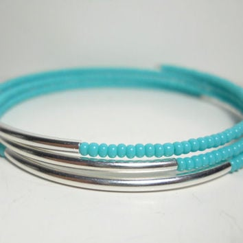 SALE Turquoise and Silver Memory Wire Wrap Bracelet