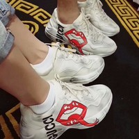GUCCI Fashionable Vintage Couple Red Lip Pattern Running Sport Shoes Sneakers
