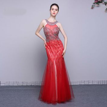 Mermaid Red Dress Tulle Floor Length Prom Dresses Sleeveless