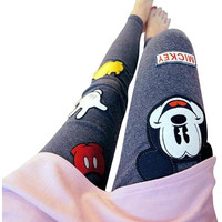 Mickey Mouse Embroidered Style Fashion Leggings.  3 Colors One Size Fits Most