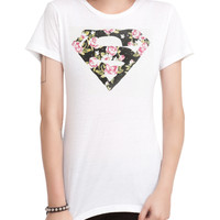 DC Comics Superman Floral Logo Girls T-Shirt