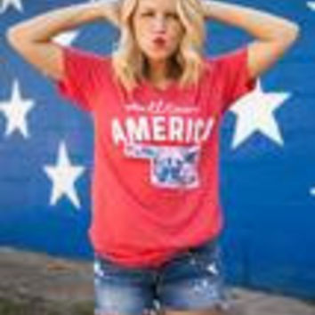 Small Town America Floral Oklahoma Red, White, & Blue V neck T-shirt
