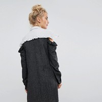 Willow And Paige Shirt Dress With Cold Shoulder Ruffle In Contrast Stripe at asos.com