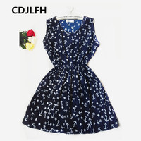 2017 Brand Blue stars 20 Colors Fashion Women Sleeveless Florals Print Round Neck Dress