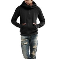 Men Fleece Lining Long Sleeve Zip Closure Hooded Sweatshirt