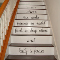 Wall Decals Quote Family Is Forever Staircase Stairway Stairs Words Phrase Home Vinyl Decal Sticker Kids Nursery Baby Room Decor kk484